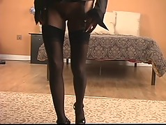 Mature blonde with nice tan spreads pussy indoors