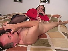 Sniff my pantyhose feet and I will give you a handjob! CFNM