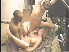 Slutty MILF in Interracial 3some