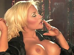 Hot Sexy Busty Blonde Solo Smoking and Teasing