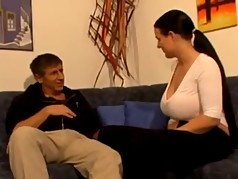 Pretty German Mature brunette with big boobs starts fucking