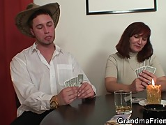 Poker playing granny double fucked after game