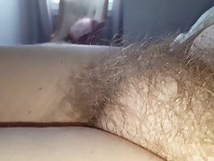 rubbing her soft hairy pussy & tummy for bigbear,