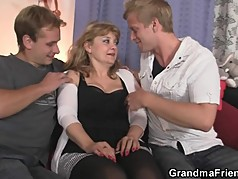 Nasty old lady takes two big cocks