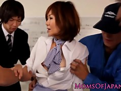 Squirting japanese mature toyed up the bum