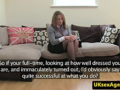 Busty british milf cockrides on casting couch