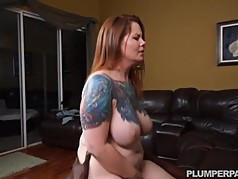 Busty Curvy Redhead Wife Vanya Vixen Swallows Black Cock