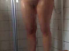 curvy unshaven wife in real shower spy - hiddencam