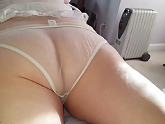 her dark asshole, hairy ass cheeks in see through pantys