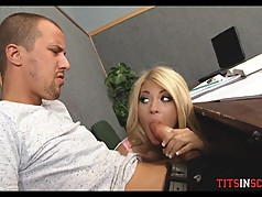 Slutty Blonde Teen Sucks Him Off during Class