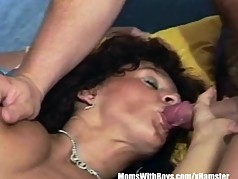 Unshaved Mature Pussy Gets Fucked By Two Cocks