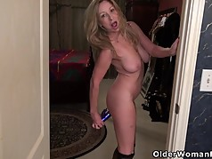 American milf Sally Steel gets naughty in fishnets
