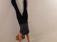 Big Tit Weathergirl Megan Glaros does a handstand