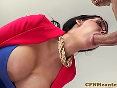 Hugetitted cfnm cougar doggystyled in duo