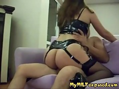 My MILF Exposed Hot busty wife in black stockings sex