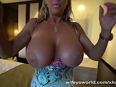 Busty MILF Masturbates And Swallows Cum