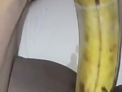 Haitian Slut Sticks Plantain In Her Pussy