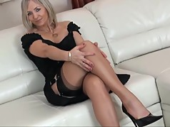 Sexy legs blonde milf mom in heels showing stocking tops