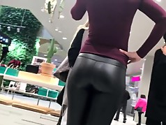 Fine MILF in Tight Leather Pants