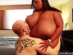 Huge Tit Ebony MILF BBW Smother White Cuckold Fan