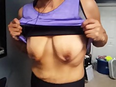 Wife's Saggy Hangers Bouncing