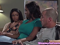 Bigbooty ebony milf facialized in threesome