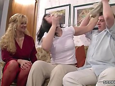 German Mom Teach Step-Daughter and Friend to Fuck