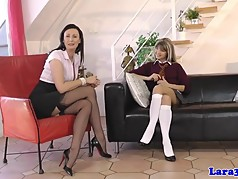 Classy UK milf pussylicked by petite babe